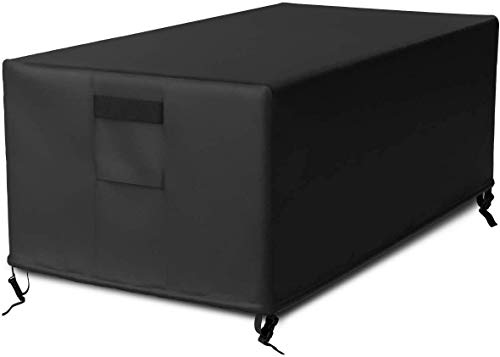 SHINESTAR 48 Inch Fire Pit Cover Rectangular for Outdoor Gas Fire Pit Table, Heavy Duty Waterproof - 48 L x 25 W x 18 H, Black