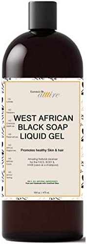 West African Black Soap 100 Organic 1 Psoriasis Acne Eczema Treatment For Face Hair Body Anti product image