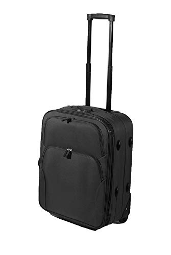 Easyjet & Ryanair 18' & 21' Cabin Hand Luggage Trolley Case Suitcase Wheeled Luggage (Black, 55CM)