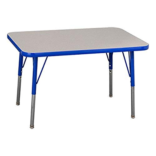 Norwood Commercial Furniture Adjustable-Height Rectangle Activity Table, 24' x 48', Grey/Blue