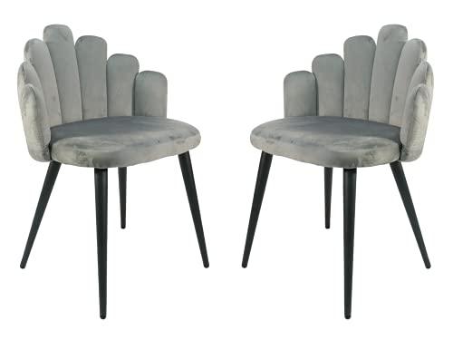 LUCKEU Silla de comedor retro nórdico sillas de terciopelo rosa patas de metal para cocina sala de estar Set de 2 (gris-A, 2)