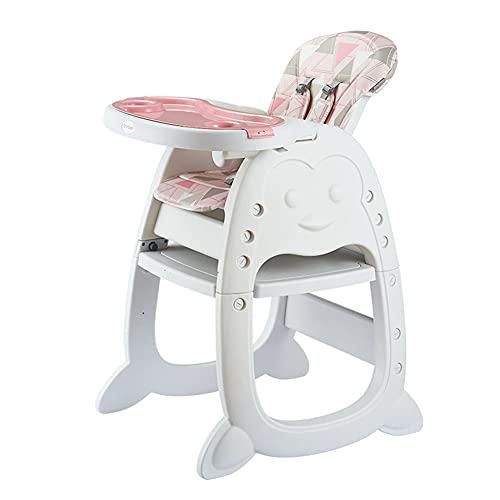 WUQIAO Set Tavolo e sedie per Bambini Seggiolino da Pranzo, Combinazione 6 in 1, può Essere utilizzato Fino a 12 Anni, Schienale/Piatto da Pranzo Regolazione a Tre velocità,Rosa