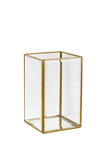 Serene Spaces Living Beveled Glass Gold Square Hurricane with Mirror Bottom, Glass Candle Box for Wedding Centerpieces, Party, Christmas, Thanksgiving Dinner, Holiday Decor, Measures 8' Tall & 5' Sq