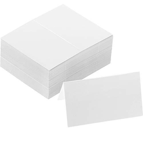120 Stück Tisch Name Tischkarten Blank Platz Zelt Karten Weiß Sitzkarten für Hochzeit Weihnachten Baby Duschen Bankette Dinner Party und Festival, 2 x 3,4 Zoll