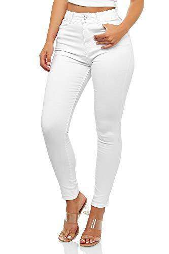 Elara Super High Waist Damen Hose Chunkyrayan EL12-1 White 50 (5XL)