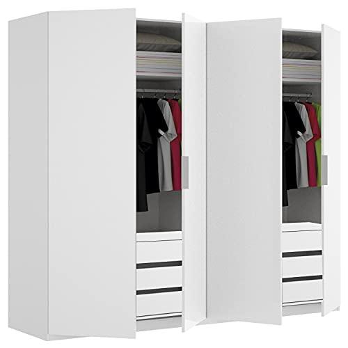HABITMOBEL Conjunto Completo Armario 4 Puertas Dormitorio 180cm con 2 cajoneras Extras Interiores Incluidas (6 cajones Total)