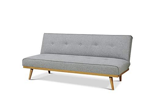 Meubletmoi Slaapbank, 3-zits, ombouwbaar, stof, grijs en hout, Scandinavische stijl – Malibu