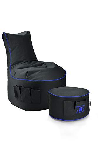 Maverick Gaming Set Sitzsack mit Sitzhocker/Fußbank Schwarz mit Keder Farben wählbar Beanbag mit Seitentaschen & Reißverschluss zum nachfüllen Playstation PS4 XBOX360 XboxOne Nintendo (Kobalt Blau)