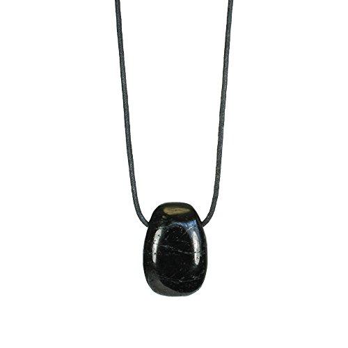 Edelsteinanhänger schwarzer Turmalin (Schörl) an Textilband, ca. 25 x 18 mm