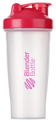 BlenderBottle Classic Botella de agua | Botella mezcladora de batidos de proteínas | con batidor Blenderball | libre de BPA | 590ml - Pink/Transparente