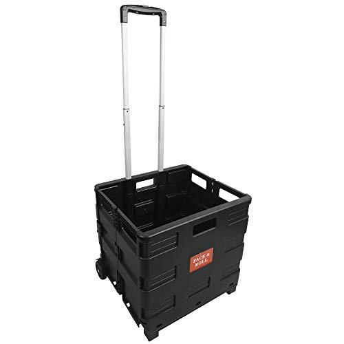 BPT Transport Trolley klappbar bis 35kg Einkaufstrolley Einkaufswagen Klappbox Transportwagen Shopping Trolley Faltbox Aluminium Kunststoff (Ohne Deckel)
