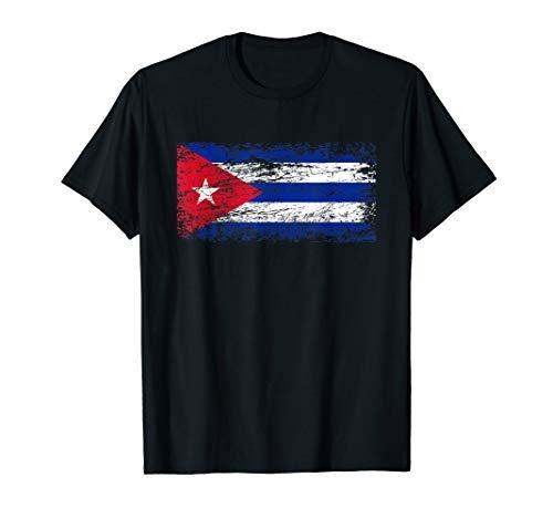 Kuba Fahne Used Look Karibik Reise Lateinamerika Südamerika T-Shirt