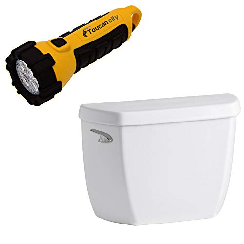 Toucan City LED Flashlight and KOHLER Wellworth Classic 1.0 GPF Single F Toilet Tank Only in White K-5307-0