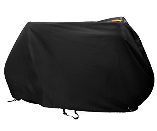 Kotivie Black Waterproof UV Protection Bike Cover for 3 Bicycles with Hangers Double Buckle Straps Lock Hole