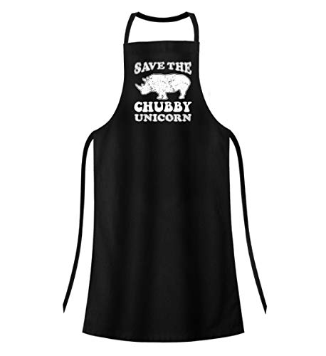 PlimPlom Save The Chubby Unicorn - Nashorn Spruch Kochschürze - Hochwertige Grillschürze -Einheitsgröße-Schwarz