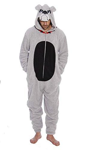 #followme 6427-XXL-BullDog Adult Onesie Men's Pajamas