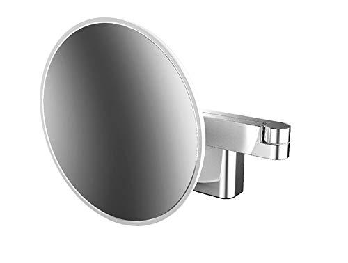 Emco Kosmetikspeigel Evo LED-Rasier-und Kosmetikspiegel 2-armig, 3-Fach, rund, D: 209 mm, Zinkdruckguss, Chrom, Normal