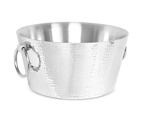 BIRDROCK HOME Hammered Double Wall Round Beverage Tub - 3 Gallons Stainless Steel - Ice Bucket - Metal Drink Cooler - House Party - Handles Small Container