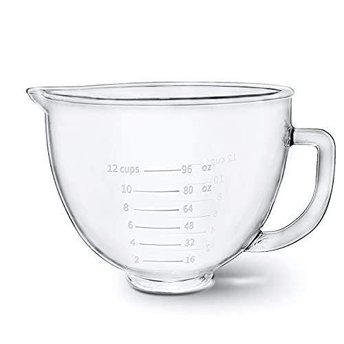 Glass Bowl 5 Quart for KitchenAid Stand Mixer,with Measurement...