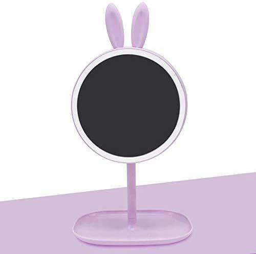 Espejos de maquillaje de maquillaje recargable por USB, pantalla táctil, luz LED regulable para encimera, cosmética o tocador, lámpara de mesa, regalo para niña (color: B)