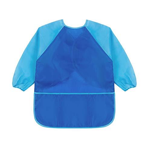 Sanmum Malschürze Kinder 1-12 Jahre, Malkittel/Bastelschürze/Langarm Kittel/Wasserdichter Schürze für Jungen und Mädchen (Blau 2,M)