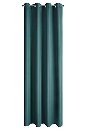 Design91 Ösenvorhang Vorhang Elisa Gardinen 140 x 250 cm Blickdichte Vorhänge Eleganter Stoff (Petrol)