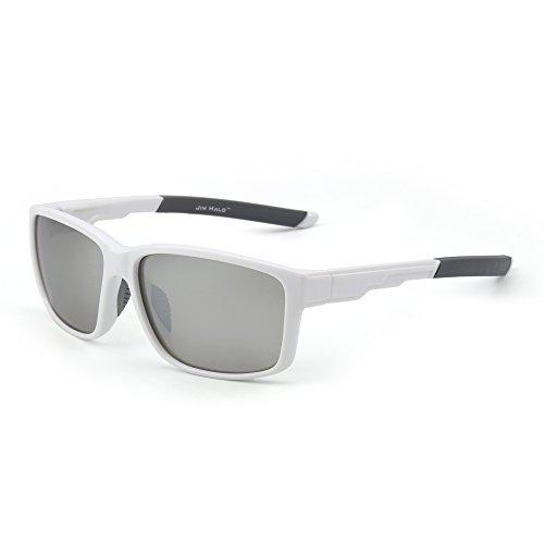 Polarizadas Deporte Gafas de Sol Espejo Envolver Alrededor Conducir Pescar Hombre Mujer(Blanco/Plateado)