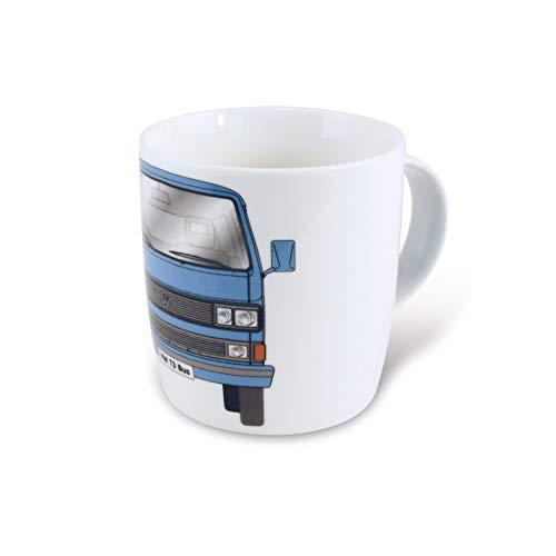 BRISA VW Collection – Volkswagen Furgoneta Bus T3 Camper Van Taza de Café de Porcelana (New Bone China) en Caja de regalo, Copa de Té, Decoración de la Mesa/Cocina/Camping/Souvenir (Frente/Azul)