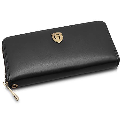 Mailand Damen Geldbörse - Großes Frauen Portemonnaie mit RFID Schutz - XL Geldbörse mit vielen Fächern - Geschenk für Damen - erhältlich in 5 Farben (Nachtschwarz - Glatt)