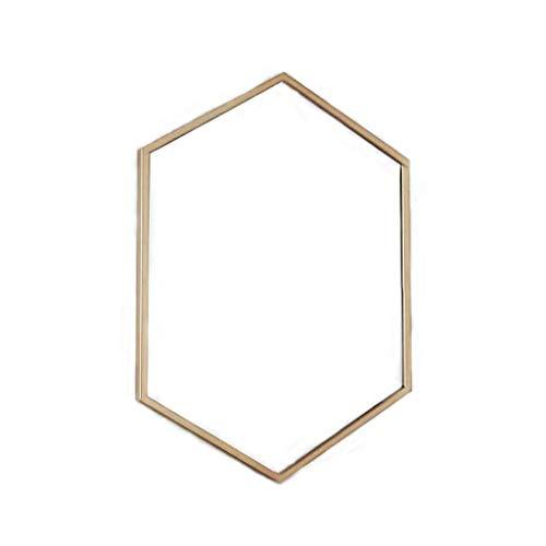 HLWJXS Espejo, Baño, Montado en la Pared, Espejo de Maquillaje, Tocador, Pared Biselada Hexagonal Decorativa Creativa Nórdica para Afeitarse/Maquillaje Hierro Dorado,Los 40X60Cm