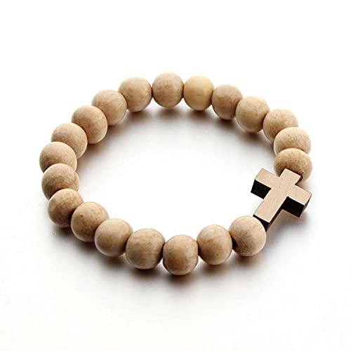 YEESEU Pulseras Cruzadas con Cuentas de Madera Hechas a Mano para Hombres Mujer Rosario Pulsera de oración Joyería Masculina Religiosa (Metal Color : Beige)