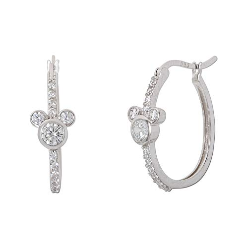 Disney Jewelry for Women Minnie Mouse Pink Plated Sterling Silver Cubic Zirconia Hoop Earrings
