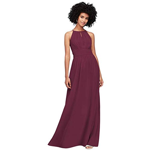 David's Bridal High-Neck Chiffon Bridesmaid Dress with Keyhole Style F19953, Wine, 0
