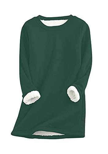 Yming Sudadera de felpa cálida para mujer, cuello redondo, manga larga, con forro polar, verde, S