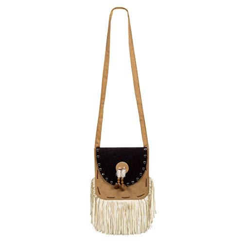 Amakando Extravagante Indianer Hänge-Tasche für Damen / Braun-Beige 19x19cm / Pocahontas Handtasche mit Fransen / Bestens geeignet zu Fasching & Mottoparty