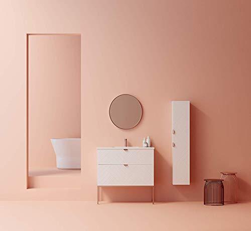 Randalsa Bliss Möbel 100 cm | mat wit met chevron-patroon handgrepen en voeten van roségoud 100x84x45 cm kast + keramische wastafel