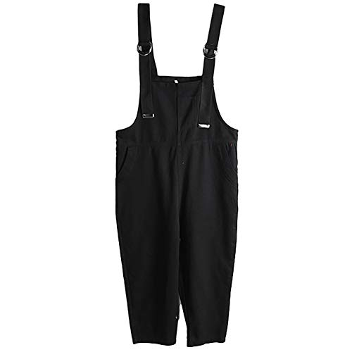 Casual, los, mouwloze jumpsuit broek met verstelbare bandjes voor dames, sportieve jumpsuit van denim met schouderriemen.