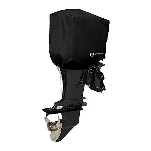 Seamander Outboard Motor Cover 10 - 200 HP Engines Cover Waterproof Boat Cover (Black, Fits up to 100 hp)