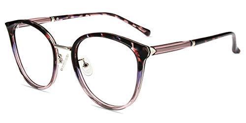 Firmoo Occhiali Luce Blu Uomo Donna, Occhiali Anti Luce Blu Ridurre il Mal di Testa, Occhiali da Riposo per Computer Rotondi, Trasparente Tartaruga