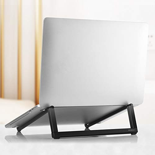 Adjustable Laptop Stand,Notebook Stand,Foldable Laptop Stand,Mini Ultrathin Portable Foldable Design Laptop Bracket Stand Mi,luckyqq (Color : Black)