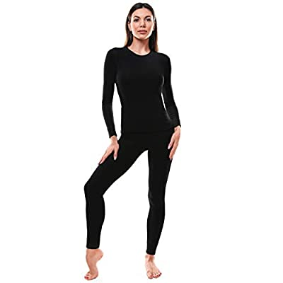 Thermal Underwear for Women, Ultra Soft Long Johns Womens Set Base Layer Clothes (Black Set, Small)