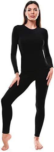 Thermal Underwear for Women Ultra Soft Long Johns Womens Set Base Layer Clothes Black Set Medium product image
