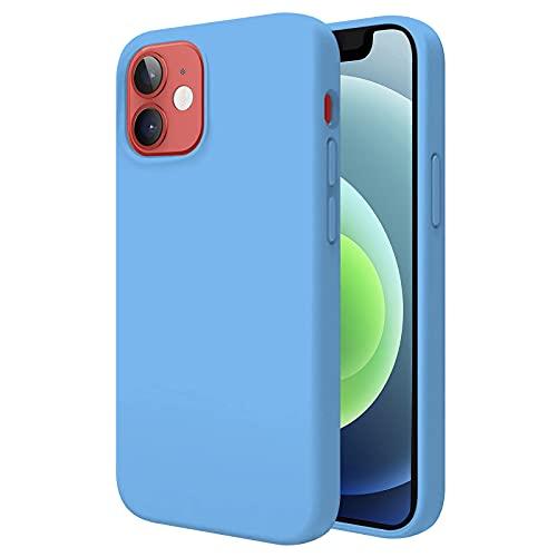 TBOC Funda Compatible con iPhone 12 [6.1'] - Carcasa Rígida [Celeste] Silicona Líquida Premium [Tacto Suave] Forro Interior Microfibra [Protege la Cámara] Antideslizante Resistente
