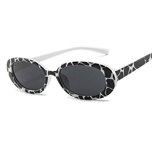 ukYukiko Kleine Doos Gepersonaliseerde Koe Kleur Zonnebril Decoratieve Ovaal Frame Zonnebril