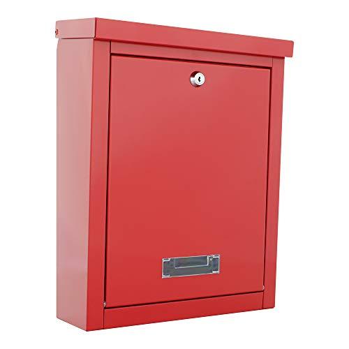 HomeDesign brievenbus HDM-200 rood, kijkvenster, naambordje, plaatstaal, cilinderslot