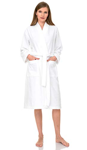 TowelSelections Terry Kimono Bathrobe - Terry Cloth Bath Robe for Women and Men, 100% Turkish Cotton, Made in Turkey (White, L/XL)