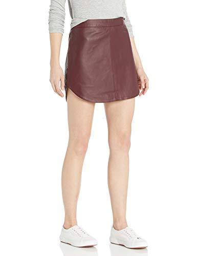 BB Dakota Junior's Conrad Leather Mini Skirt, Bordeaux, 6