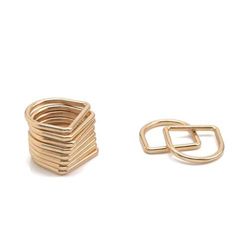 Trimming Shop Sujetadores de anillo de metal soldado en D, hebillas duraderas para bolsa de mano, correa de correas, bolsos, collares de perros, cinturones, 20 mm, oro, 20 unidades