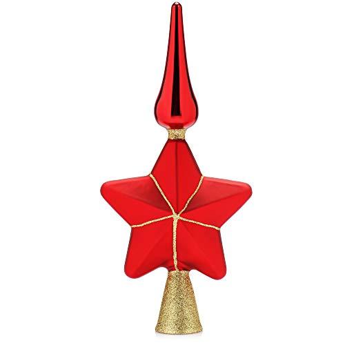 com-four® Weihnachtsbaumspitze glänzend - Christbaumspitze aus echtem Glas für Weihnachten - Tannenbaumspitze mit Stern, 29 cm (rot)