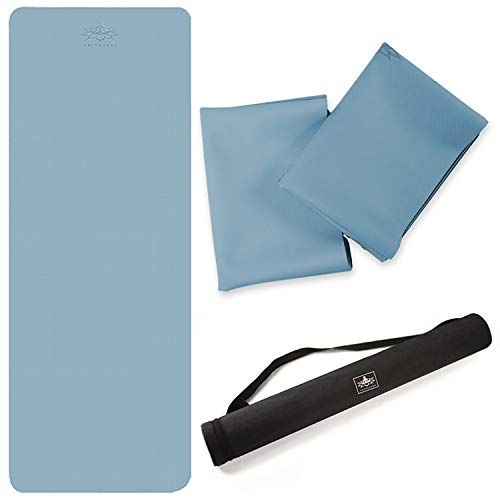 Hatha Rubber Yoga Mat Foldable Travel Fitness Exercise Mat -Eco Friendly SGS Certified-with Non-Slip Rubber Bottom for All Types of Yoga, Pilates & Floor Workouts (Blue)